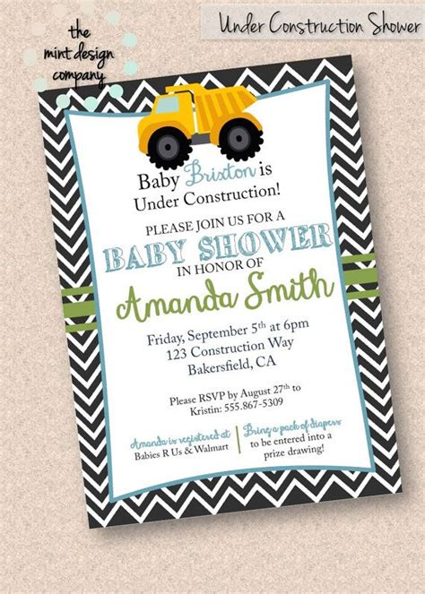 Construction Baby Shower Invitations by Construction Tonka Truck Themed Baby Shower