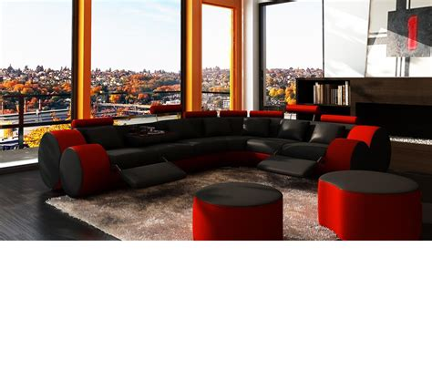 black and red leather sofa dreamfurniture com 3087 modern black and red leather