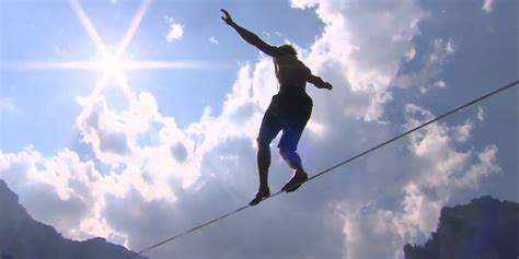 Walk The Tights Rope by Daredevil Mich Kemeter Achieves World Record Slackline
