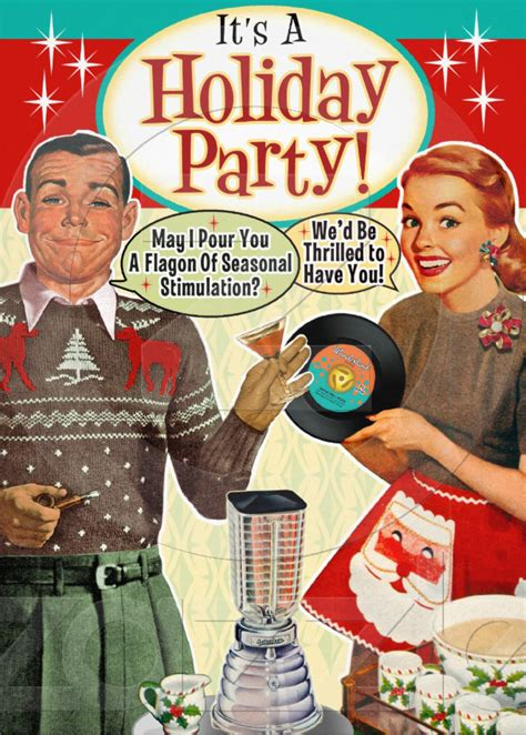 vintage christmas cocktail party retro christmas party invitations vintage christmas