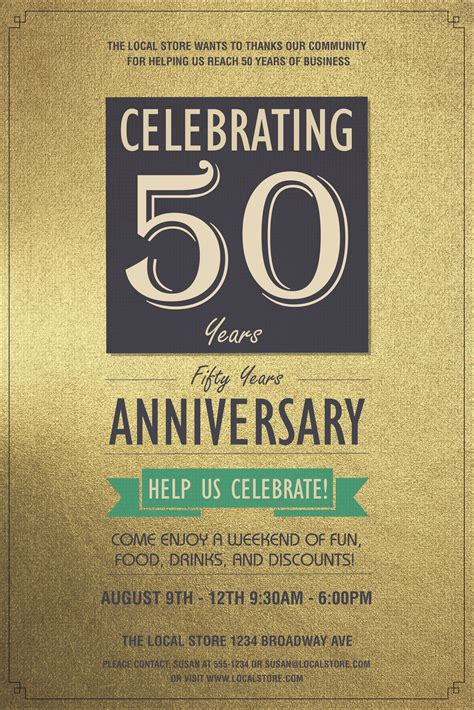 anniversary poster template 50th anniversary poster