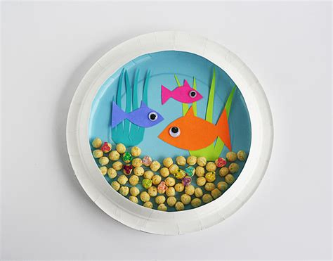 Paper Fish Bowl Craft - paper plate fish bowl munchkins and