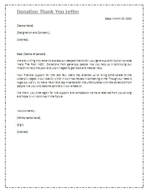 Thank You Letter Format For Donations Thank You Letter Gif Images