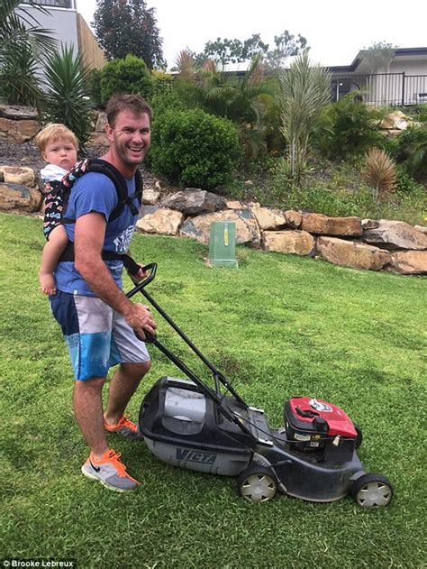 mowing the lawn for the mothers prove their husbands can multitask by