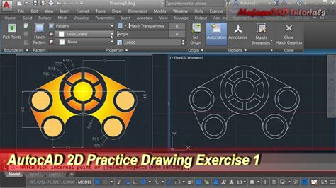 auto layout tutorial youtube autocad 2d practice drawing exercise 1 basic tutorial