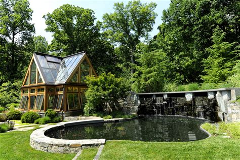 Sustainable House By The Pond Oakton Virginia Landscape Design For Greenhouse Koi Pond
