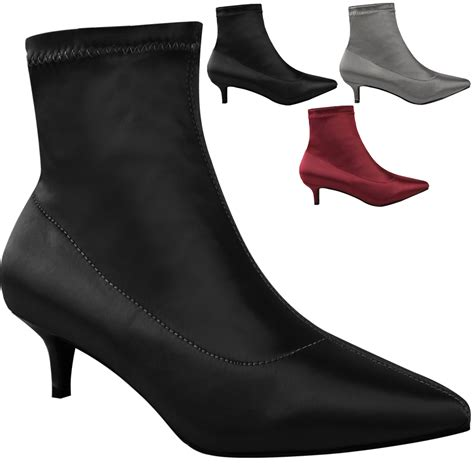 heel boots for womens low kitten heel ankle boots stretch satin