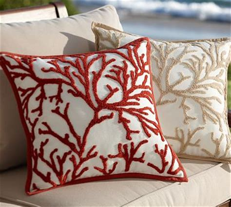 Pillow With Embroider S branch coral embroidered outdoor pillow
