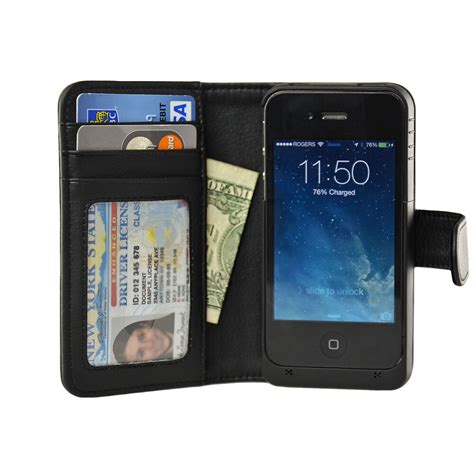 iphone wallet navor iphone 4 4s battery powered wallet leather 2000mah black ebay