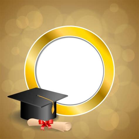 background design graduation graduation cap with diploma and golden abstract background