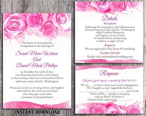 Wedding Invitation Card Editable Format by Diy Watercolor Wedding Invitation Template Set Editable