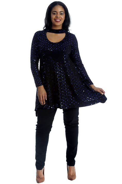 womens styles for large neck new ladies top plus size swing style polka dot foil womens
