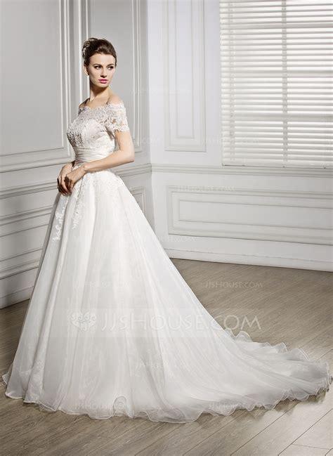 Hochzeitskleid Etuikleid by Gown The Shoulder Court Organza Lace