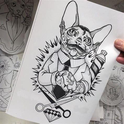 tattoo sketch cat cat barber tattoo sketch best tattoo ideas gallery