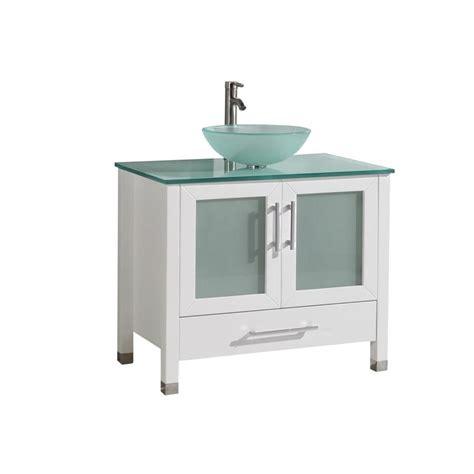 White Single Sink Bathroom Vanity Shop Mtd Vanities White Single Vessel Sink Bathroom Vanity With Glass Top Common 36 In X 20 In
