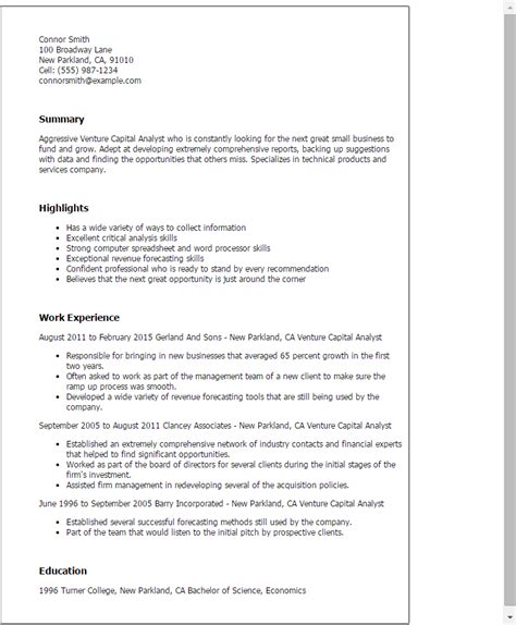 venture capital cover letter professional venture capital analyst templates to showcase