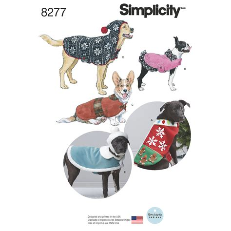 sewing pattern for dog winter coat simplicity simplicity pattern 8277 fleece dog coats and