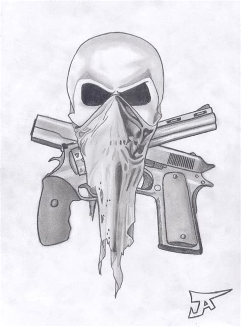 skull and guns by altsy on deviantart