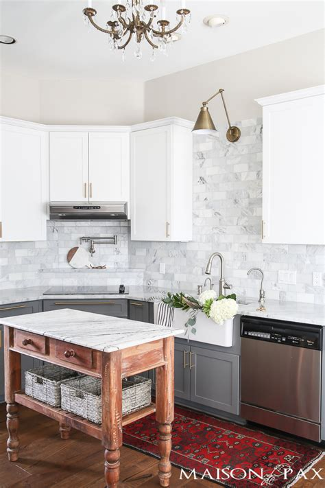 gray and white cabinets gray and white and marble kitchen reveal maison de pax