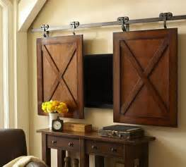 Sliding Barn Door Tv Cover Rolling Cabinet Media Solution Contemporary Media Storage By Pottery Barn