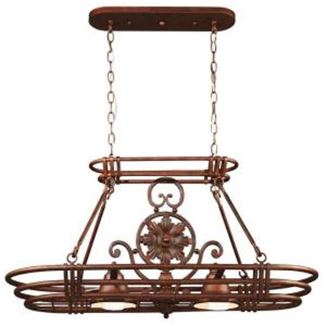 kenroy home dorada 2 light gilded copper 8 hook pot rack