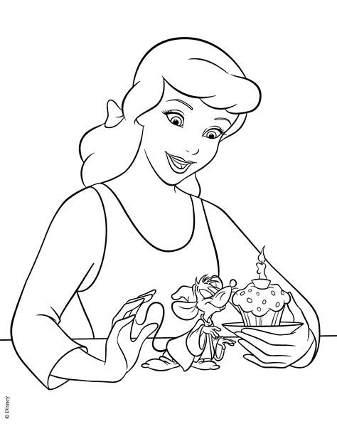 walt disney coloring pages princess cinderella jaq