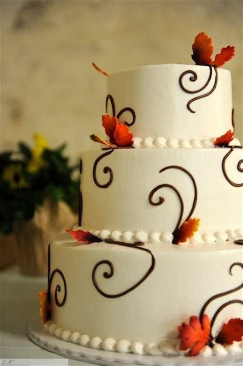 Simple Autumn Wedding Cake by Wedding Cakes T C Bakery