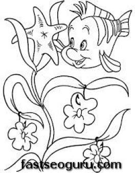 printable flounder the little mermaid coloring pages for