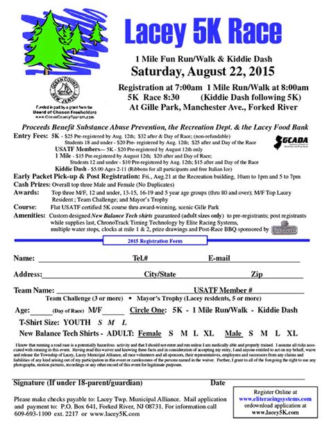 race registration form template 2013 5k run walk information and entry form springville