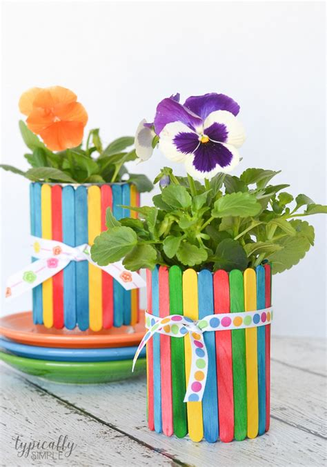 flower pot crafts for craft stick flower pots typically simple