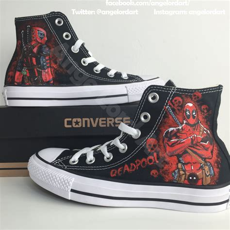 tops for shoes custom painted deadpool themed inspired converse hi tops shoes
