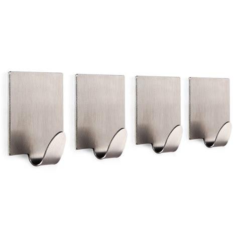adhesive wall hooks 4 pcs towel and robe hook by 3m adhesive brushed wall