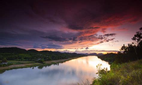 free wallpaper vietnam landscape nature sunset river sky clouds hue vietnam