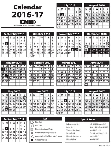 Byu Academic Calendar 2017 Academic Calendars Central New Mexico Community College