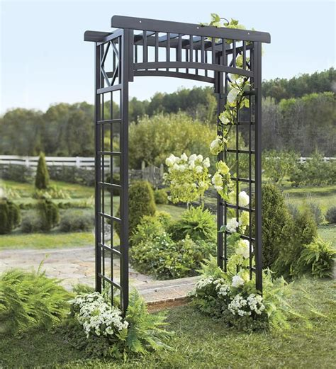 Wood Arbor For Sale Oversized Black Eucalyptus Garden Arbor Arbors Trellises