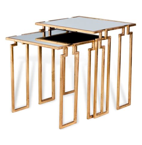Gold Nesting Tables by Regency Antique Gold Leaf Mirror Nesting Side