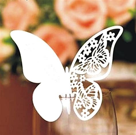 Butterfly Wine Glass Place Card Template by 50pcs Butterfly Place Cards Wedding Table Name Place