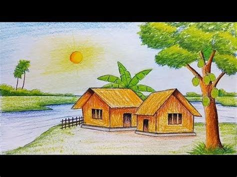village boat drawing how to draw scenery of island with water colour step by