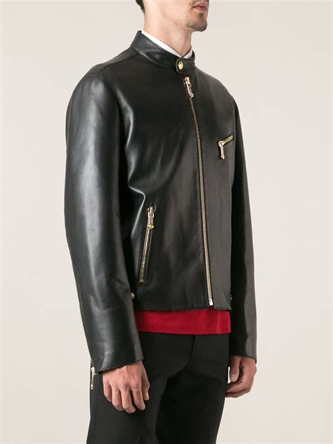 classic leather jacket versace classic leather jacket in black for lyst