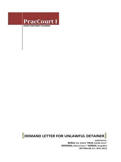 Demand Letter Unlawful Detainer Demand Letter