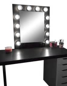 Black Makeup Vanity With Drawers Hollywood Vanity Makeup Mirror With Lights Built In