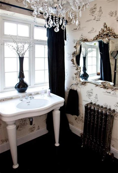 elegant small bathrooms elegant small bathroom black white toile wallpaper