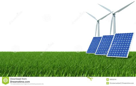 solar panel and wind energy on green grass stock