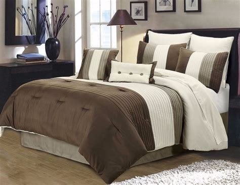 ivory comforter set king 8pc pintuck pleated stripe brown ivory and taupe