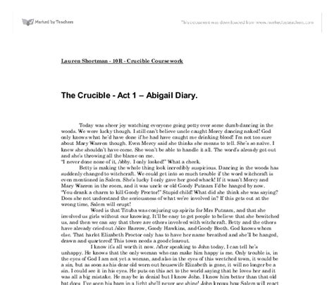 The Crucible Essay by The Crucible Essay Abigail