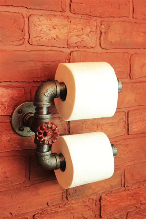 industrial pipe double roll toilet paper holder toilet roll