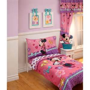 Toddler Minnie Mouse Bed Set Disney Minnie 4pc Toddler Bedding Set Walmart