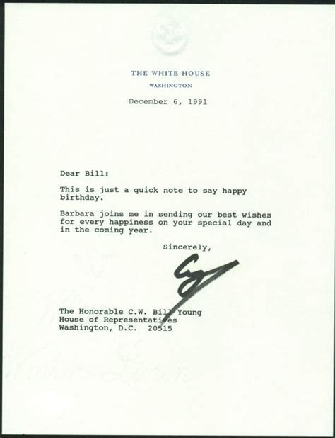 white house letterhead lot detail president george h w bush signed 1991 letter