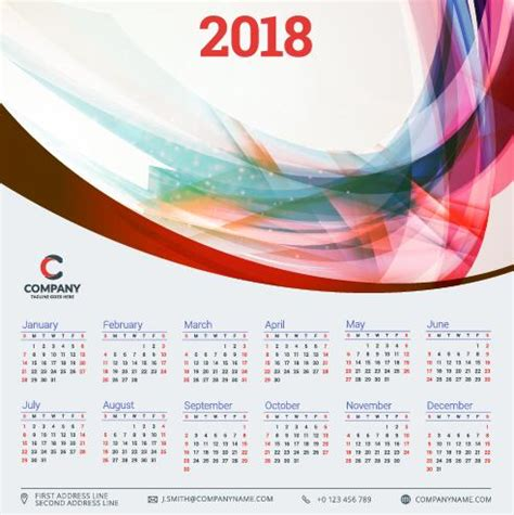 2018 business calendar template vectors 10 vector