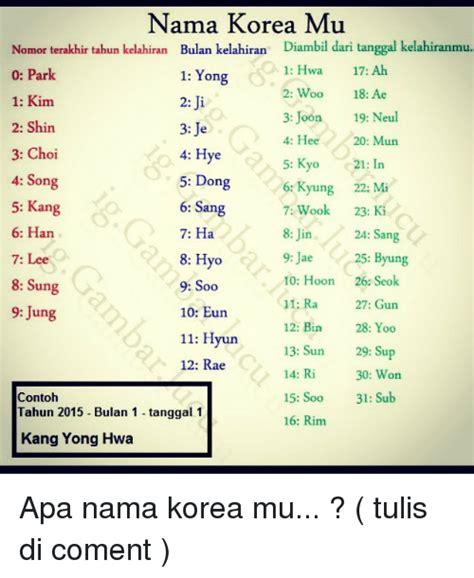 membuat nama korea berdasarkan kelahiran nama korea mu nomor terakhir tahun kelahiran bulan kelahi